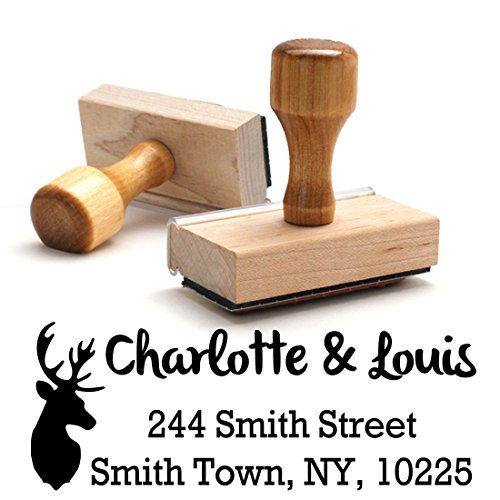 Wood Stamper, Deer - Stag Custom Personalized Wooden Handle Return Address Stamp - Perfect Family, Business, Real Estate, Housewarming, Wedding, Teacher Client, or Christmas Gift ()