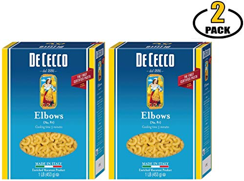 De Cecco Dececco Elbow Macaroni Noodles Italian Pasta - Dry Pasta Elbows - Made in Italy - No Added Sugar - BASED BOX Bundle (16oz, Pack of 2)