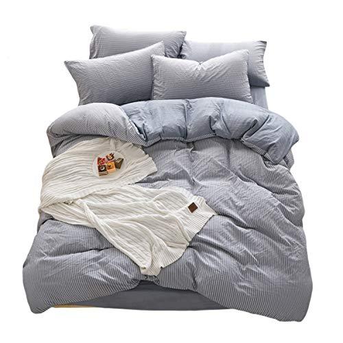 DOLDOA Duvet Cover Set,Washed Cotton Bedding Down Comforter Cover Set,3 Piece (1 Duvet Cover + 2 Pillow Shams) (Queen - 90 x 90 inch, -
