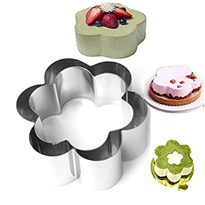SuperStores 2pcs/set Flower Stainless Steel Circle Cookie Mousse Cake Ring Cake Gum Paste Mould Layer Slicer Egg Tart Mold Candy Jelly Pastry Cutter Cake