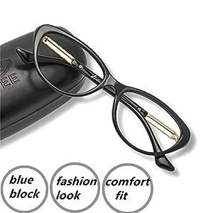 Computer Reading Glasses 0.75 Blue Light Blocking Office Gaming Screen Digital Reader Cateye Womens Protect Eyes Anti Glare Eye Strain Comfortable Fit Black