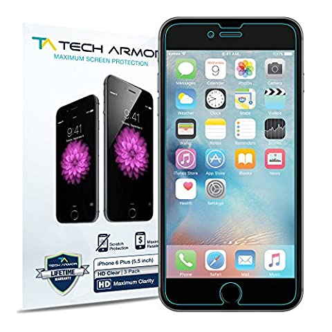 iPhone 6 Plus Screen Protector, Tech Armor High Definition HD-Clear Apple iPhone 6S / iPhone 6 Plus (5.5-inch) Film Screen Protector (Iphone 3 Protector)
