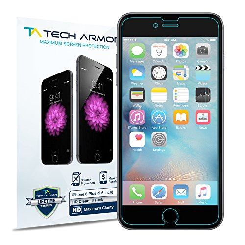 Tech Armor High Definition HD-Clear Film Screen Protector (Not Glass) for Apple iPhone 6 / 6S Plus (5.5-inch) [3-Pack]