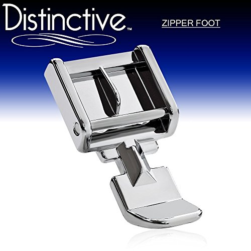 Distinctive Zipper Sewing Machine Presser Foot - Fits All Low Shank Snap-On Singer, Brother, Babylock, Euro-Pro, Janome, Kenmore, White, Juki, New Home, Simplicity, Elna and More! ()