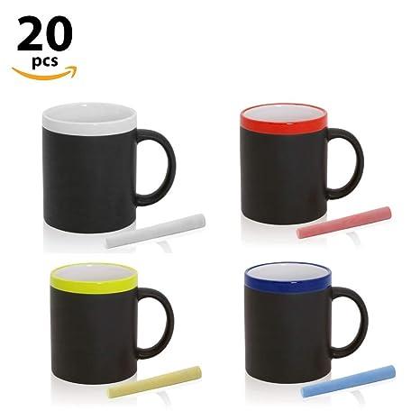 Tazas Pizarra para colorear con tiza, en caja de regalo (Varios Colores, Lote 20)