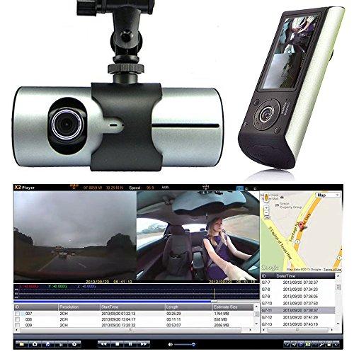 Indigi? HD Dual Driving Recorder LCD Dash-Cam Car DVR GPS Logger
