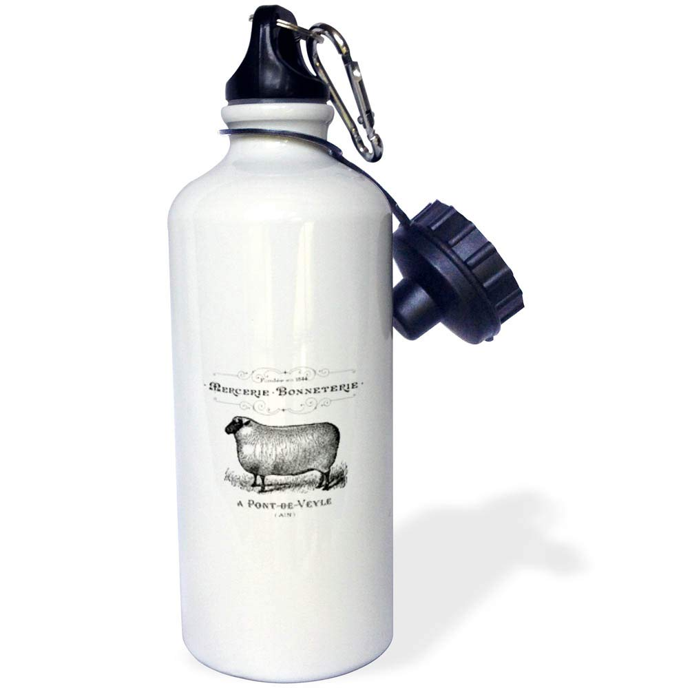 3dRose Cassie Peters Vintage - Vintage Sheep French - 21 oz Sports Water Bottle (wb_298905_1)