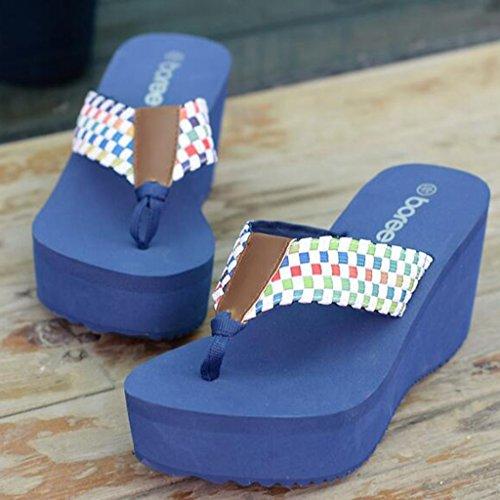 Toe À Antidérapante en Talons Hauts Chaussures Tissu Slope Mode Semelle Tige Été Épaisse EVA Femelle Élastique en Clip Bleu Chaussons Sandales 6wpqUxSzF
