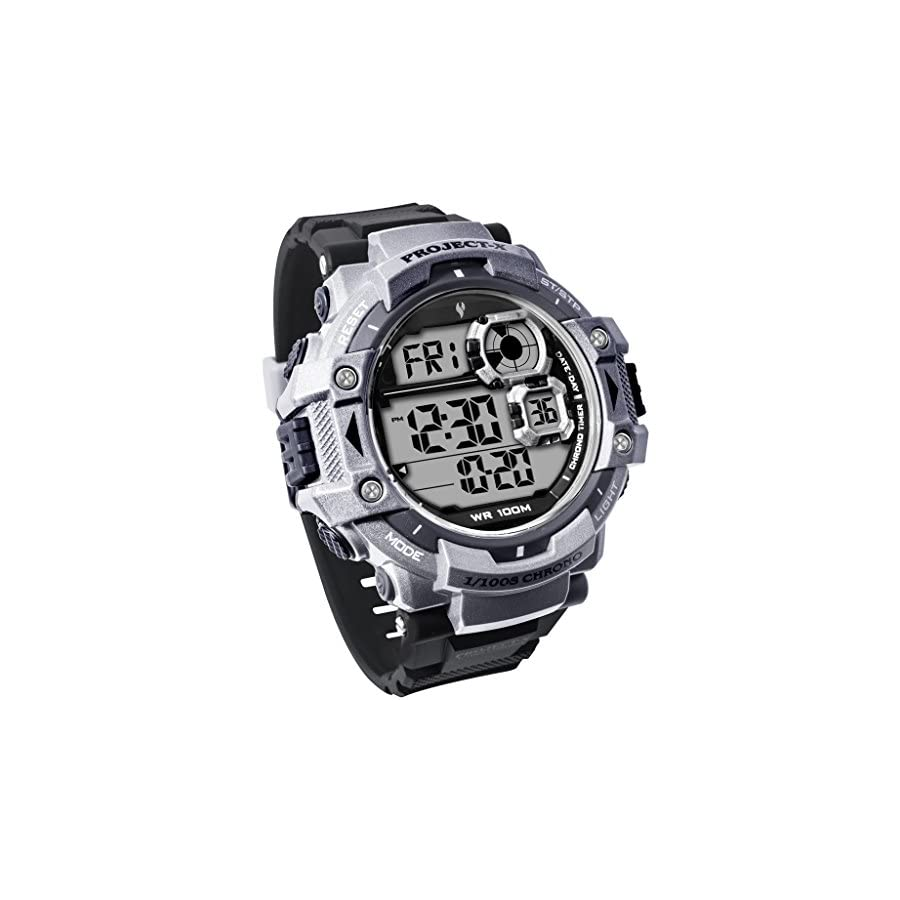 Youngs Men's Digital Outdoor Sports LED Screen Large Face Waterproof Alarm Stopwatch Watch