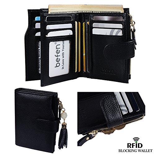 Women Fashion Leather Bifold Wallet (Black) - 8