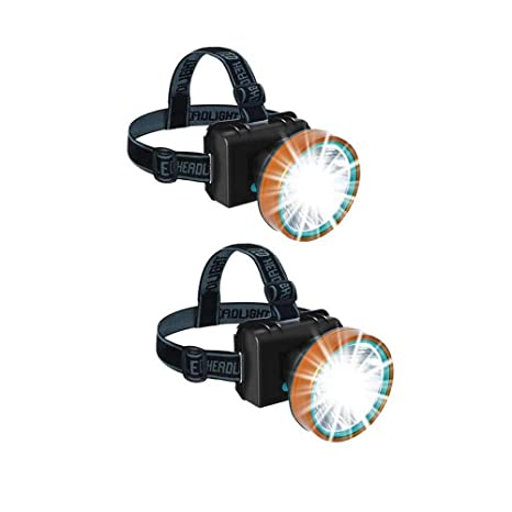 Super Bright Headlamp Rechargeable LED Spotlight with Battery Powered Headlight for Hunting Camping Fishing(2pack