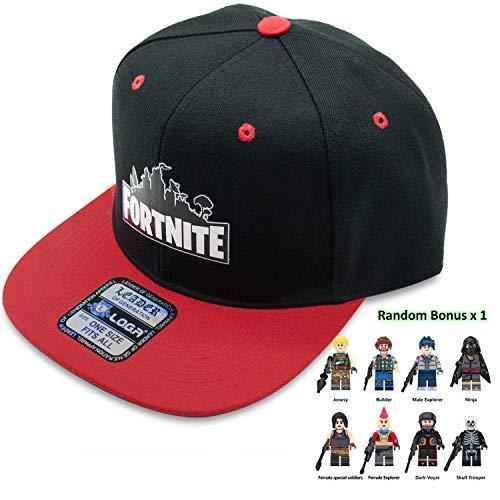 2019 Battle Royale Unisex Adjustable Hats with Minifigure Hip Hop Baseball Caps for Boys Girls (Black/Red)