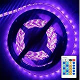 AMARS 3528 BlackLight UV LED Lights Strip with Remote Control Kit 16.4Ft/5M 395nm-405nm Black Light Fixtures for DJ, Party, 3D Print, UV Body Paints (Dimmable, 12V 2A Power Supply Included)