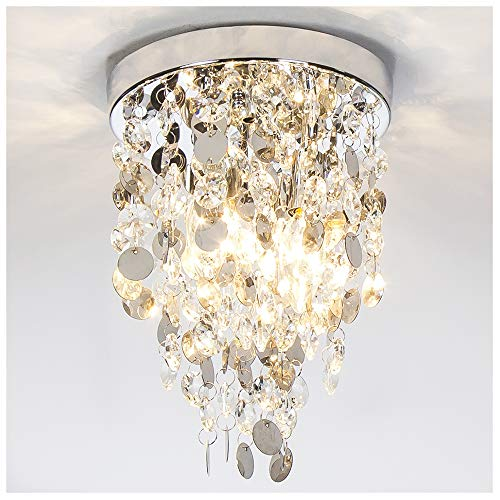 GLANZHAUS Elegant Designed Mini Style Lighting Fixture Crystal Ceiling Light, Crystal Chandeliers Light Crystal Chandelier for Living Room Dining Room Bedroom, 3-Lights ()