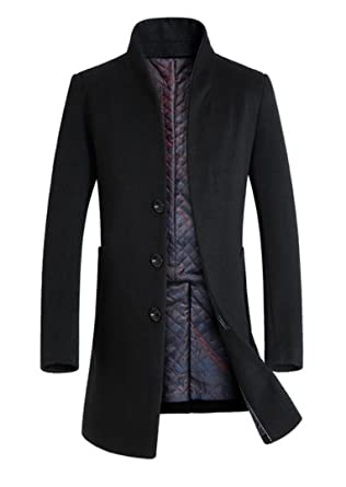 5aca454e18de4 Lavnis Men s Trench Coat Long Wool Blend Slim Fit Jacket Overcoat Thicken Style  Size Style 1