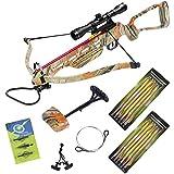150 lb Autumn Camo Crossbow Aluminum Stock +4x32 Scope +14 Arrows +Quiver +3 Broadheads +Rope Cocking Device +Stringer