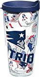 Tervis 1248023 NFL New England Patriots All Over Tumbler with Wrap and Navy Lid 24oz, Clear