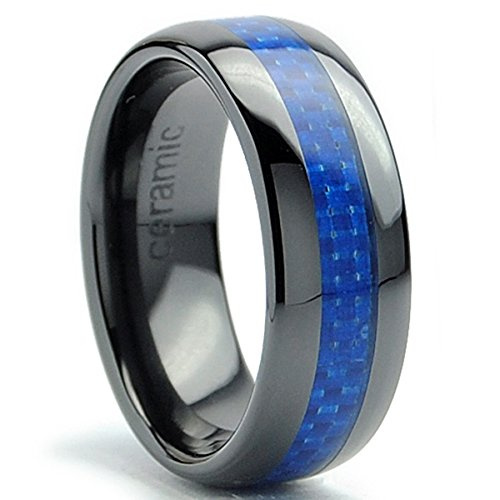 Faceted Black Ceramic Ring - 8MM Dome Men's Black Ceramic Ring Wedding Band With Blue Carbon Fiber Inlay Size 7.5