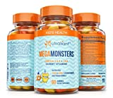 gummy vitamins with omega 3 - BEST Omega 3 Gummies For Kids MEGAMONSTERS Gummy Vitamins - Vitamin C + Omega 3-6-9 + DHA Algae + Coconut & Chia Seed Oil - Boosts Brain Function, Heart & Vision - Gluten Free, Vegetarian Multivitamin