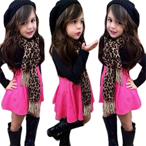 Yoyorule 3Pcs Cute Kids Baby Girls Long Sleeve T-Shirt Tops+Skirt+Leopard Scarf Clothes Set (5T)