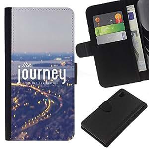 Sony Xperia Z1 L39 C6902 C6903 C6906 C6916 C6943 , la tarjeta de Crédito Slots PU Funda de cuero Monedero caso cubierta de piel ( Journey Fog Blue City Lights Travelling)