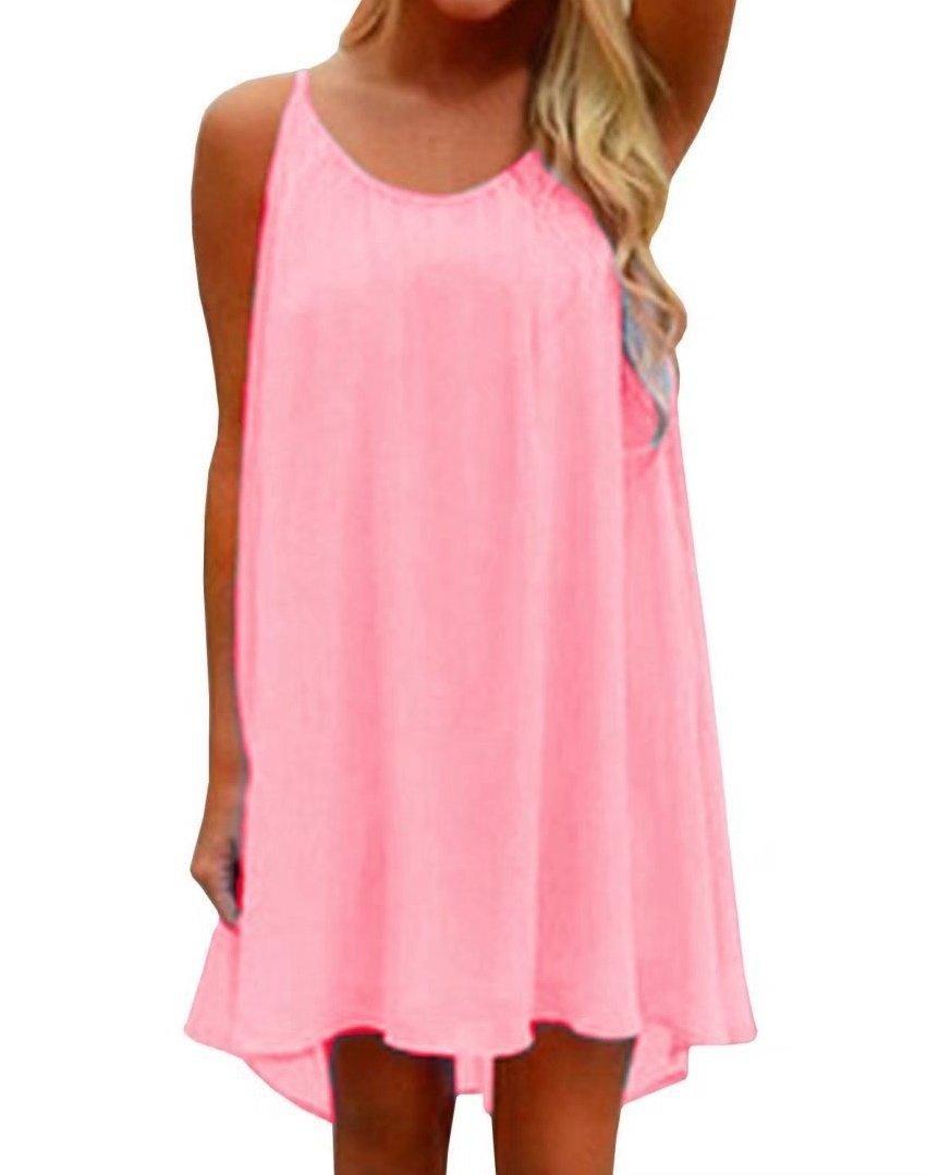 LeaLac Women's Summer Cotton Petite Fashion Vest Beach Bikini Swimsuit Swimwear Crochet Dress Gift for Women Q24843 Pink