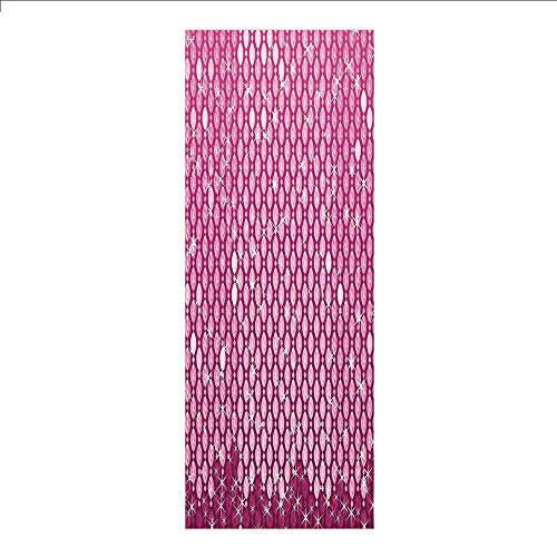 (3D Decorative Film Privacy Window Film No Glue,Magenta,Abstract Oval Diamonds Dangling Image Art Digital Print Design with Ombre Color Decorative,Pink,for Home&Office)