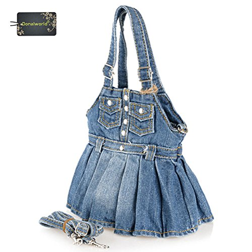 Donalworld Women Cute Mini Dress Jeans Denim Tote Handbags Shoulder Bags Dblue