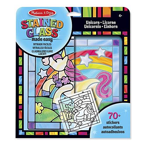 Melissa & Doug- Stained Glass Made Easy-Unicorn Juego de Dibujo, 4-8 Anos, Multicolor (19299)