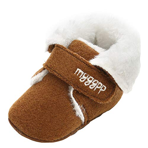 Baby Girl Boys Snow Boots Cotton Shoes Fashion Toddler First Walkers FurLined Slipper Shoe (0-6 Months, Coffee)