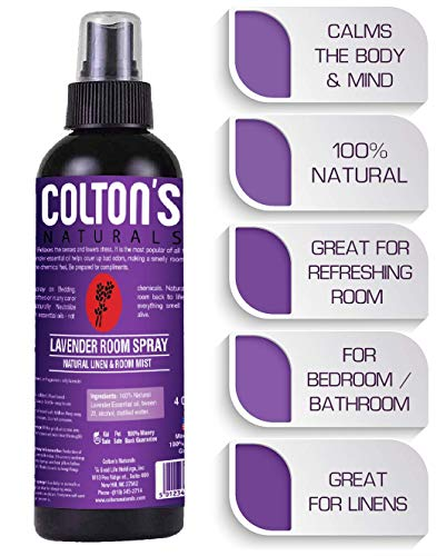 Colton's Naturals Lavender Linen Spray Mist, 100% All Natural, Home, Bedroom Bathroom, Essential Oil Blend, Air Freshener, Odor Eliminator (4 OZ)