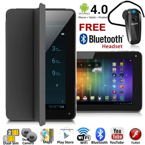 UNLOCKED! 7'' Android 4.4 GSM Dual-Sim Tablet Phone 3G Smartphone >FREE Smart Cover+Bluetooth< by inDigi