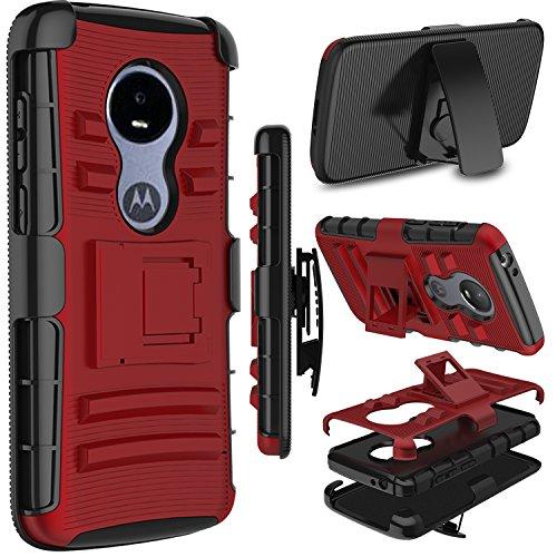 Moto E5 Play Case, Moto E5 Cruise Case, Zenic Heavy Duty Shockproof Full-Body Protective Hybrid Case Cover Swivel Belt Clip Kickstand for Motorola Moto E5 Play (Red)