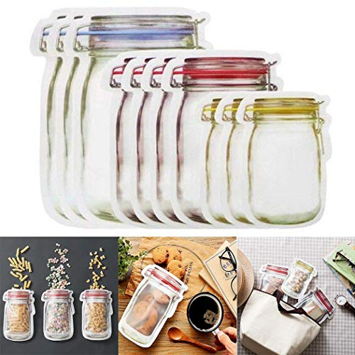 Dozenla 10pcs Mason Jar Zipper Bags,Food Storage Snack Sandwich Ziplock Bags,Reusable Airtight Seal Food Storage Bags,Leakproof