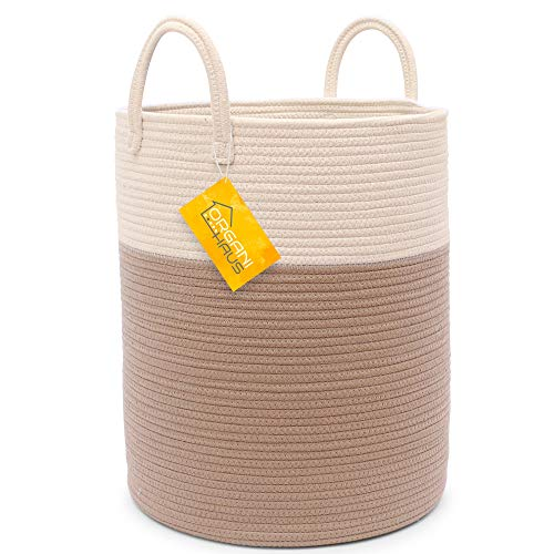 OrganiHaus Cotton Rope Basket in Off-White/Honey Colors | Tall Storage Basket with Long Handles | Decorative Blanket Basket for Living Room and Laundry (Basket Wicker Large With Handle White)