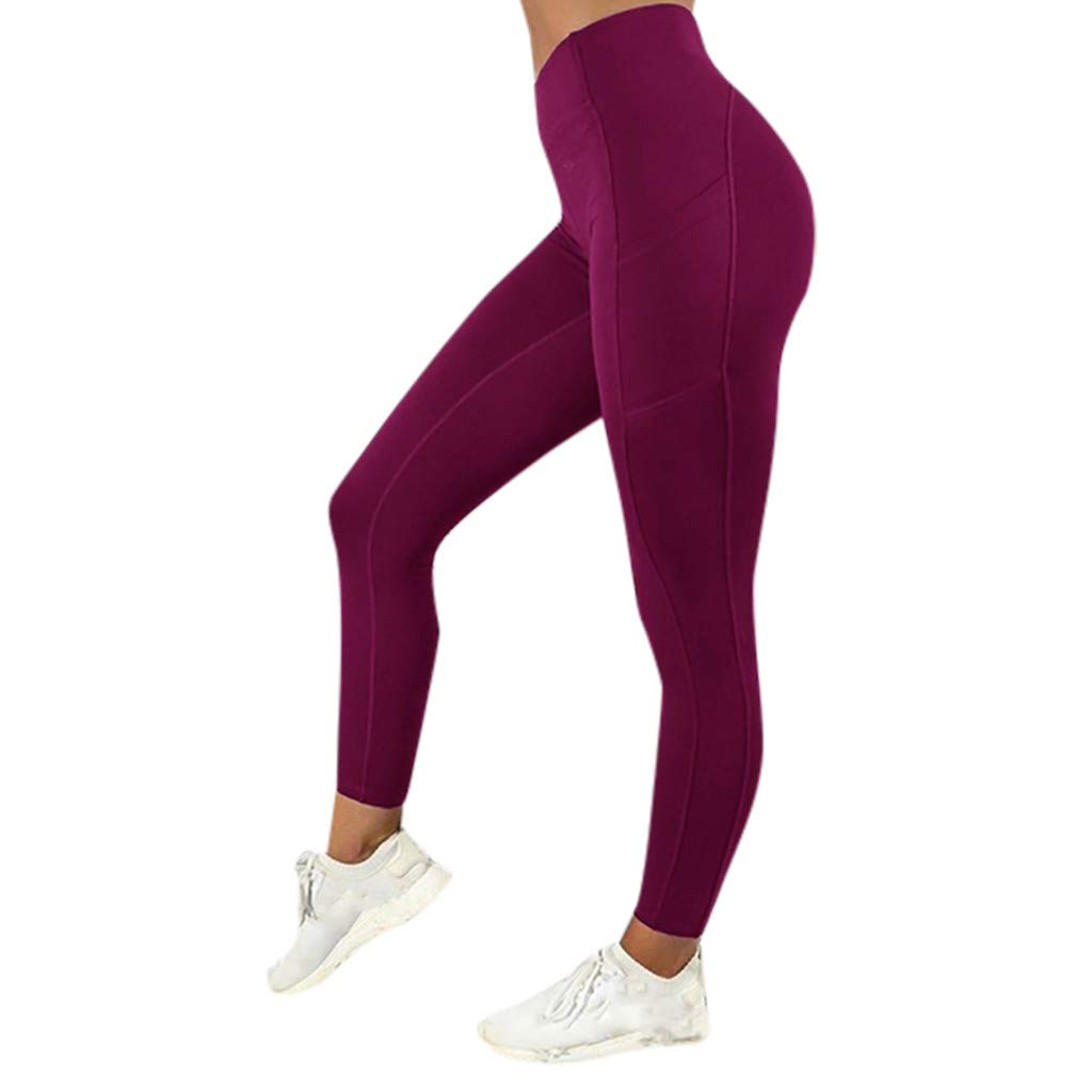 ✅Zalanala Women's Solid Workout Leggings with Pockets Fitness Sports Gym Running Yoga Athletic Pants (S, Wine Red)