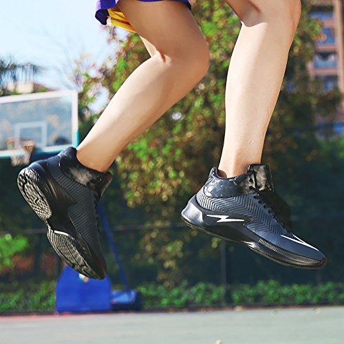 No.66 Ville Hommes Absorption Des Chocs Absorption Chaussures De Course Sneaker Chaussures De Basket-ball Noir-bleu