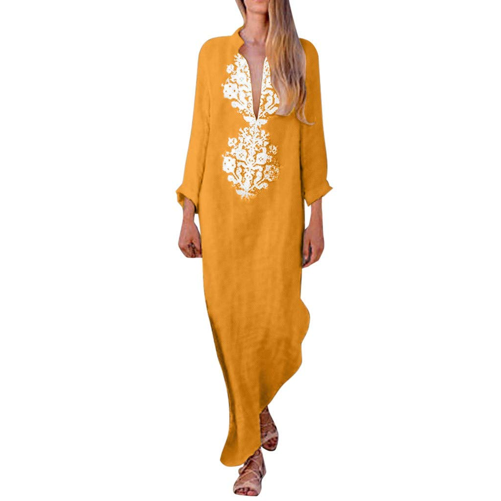 KAIXLION Casual Summer Dresses for Women Long V-Neck Dresses Women'S Printed Linen Maxi Dress Baggy Kaftan Dress Orange