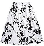 50s Vintage Floral Swing Dress A-line for Women Size L CL6294-24
