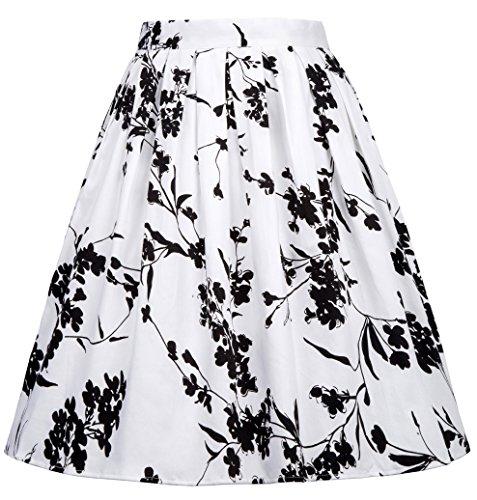KARIN Fleurs Rtro Jupe Plisse Imprime Jupe 24 Cl6294 Femme GRACE Vintage OdSwFpOq