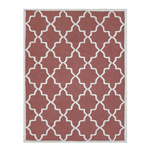 Coral and Ivory Hand-Tufted Area Rug, 100% Natural Wool Moroccan Trellis Design, Plush Hi/Low Cut Pile 5'x8' & 8'x10' by DecorShore