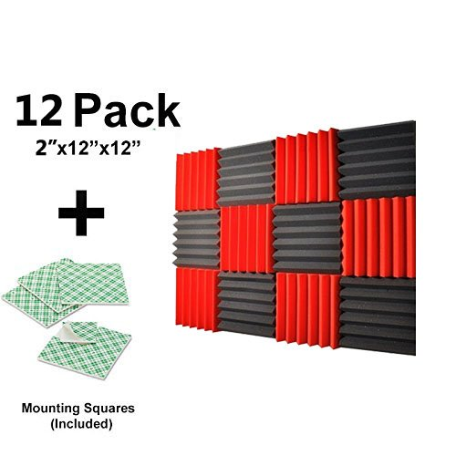 12-pk-red-charcoal-2x12x12-soundproofing-foam-acoustic-tiles-studio-foam-sound-wedges-with-24-double