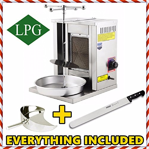 Gyro Gas Machine (!! COMPLETE SET !! 1 BURNER PROPANE GAS Spinning Grills Vertical Broiler Shawarma Gyro Doner Kebab Tacos Al Pastor Grill Machine for Home use ( Small ) Catch Pan and Shawarma Knife included)