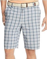 Izod Microfiber Plaid Shorts, Blue/Grey, 40