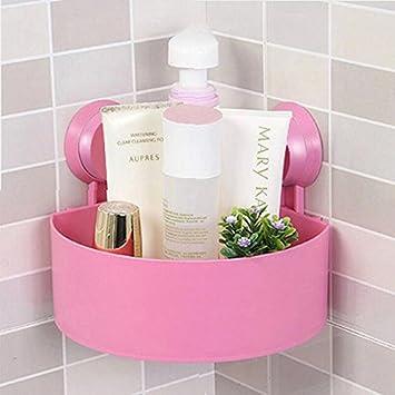 Schön Duschkorb Eckregal Mit 2 Starken Saugnäpfen Trigonaler Duschregal Badezimmer  Organizer Für Badezimmer Küche (Rosa)