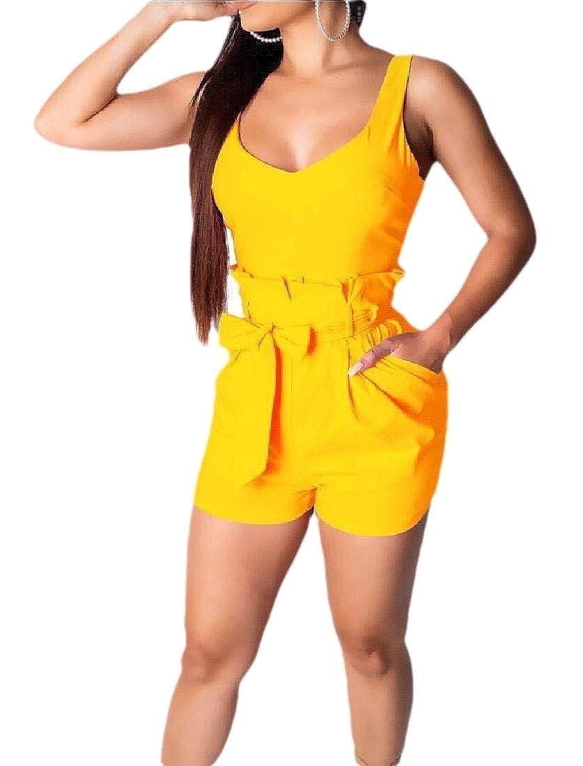 HTOOHTOOH Women Shorts Jumpsuit Sleeveless Bodycon Short Pants Romper