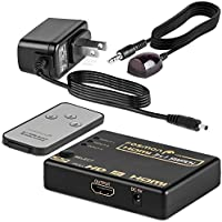 Fosmon HD8063 [Supports 4K,Full HD1080p, 3D] Intelligent 3-Port HDMI Switch | Switcher with IR Remote and AC Adapter