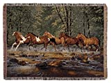 "Spring Creek Run Horse Tapestry Afghan Throw Blanket 50"" x 60"""
