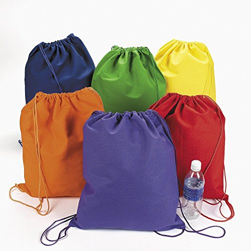 Large Bright Canvas Drawstring Backpacks (1 dozen) - Bulk [Toy] by Fun Express by Fun Express