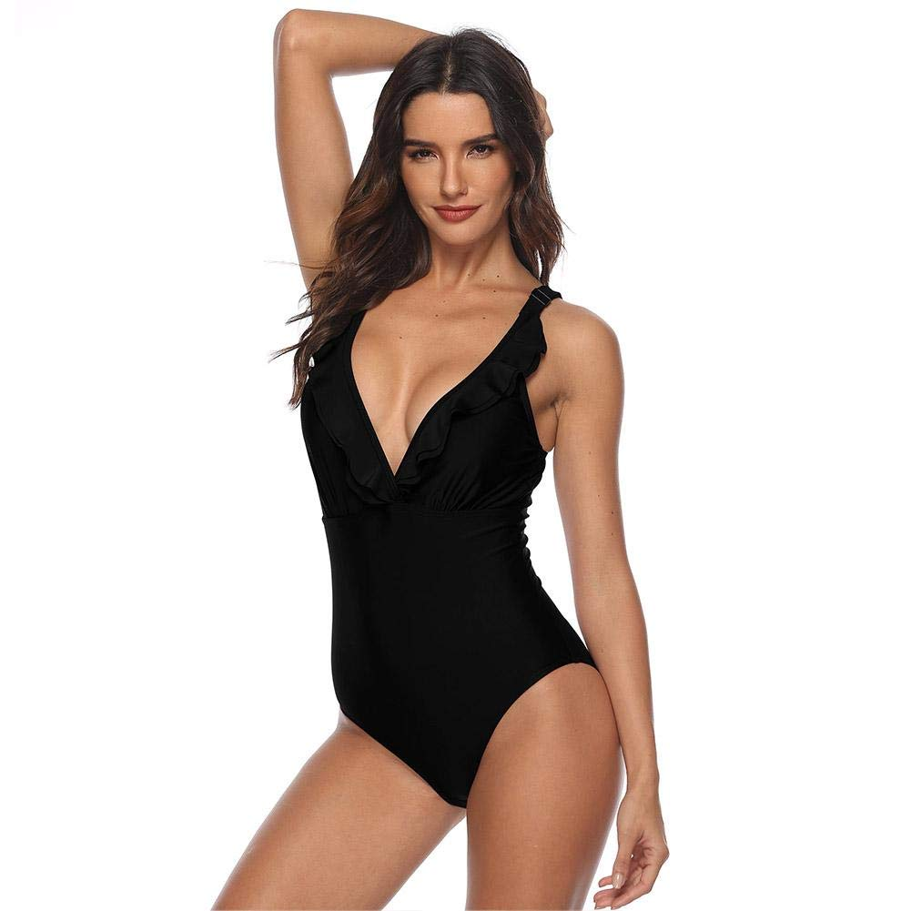 d98bbafd46 Women's One-Piece Swimsuit Sexy Deep V - Neck Backless Beach Wear Solid  Color Padded Push-up Swimwear Tummy Control Tankini Thong Monokini Bathing  Suit